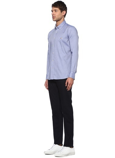 Beymen Club Beymen Club Slim Fit  Düğmeli Yaka Oxford Gömlek 101393388 Mavi